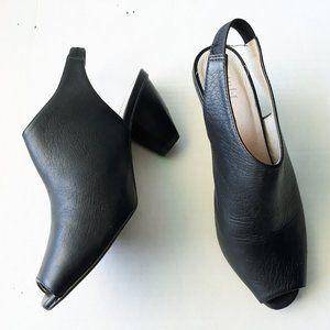 J Jill Black Leather Peep Toe Slingback Heels Sz9